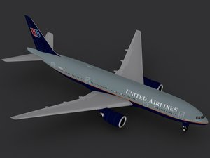 3ds max b 777-200 united airlines