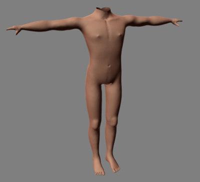 male human torso 3d obj