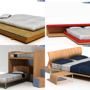 double bed bunk bedc1 3d model