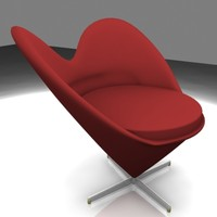 3d model of panton heart cone chair