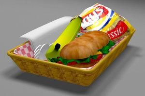 3d model basket food