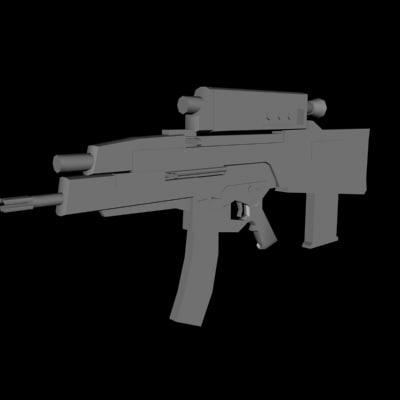 oicw weapon grenade launcher 3d model
