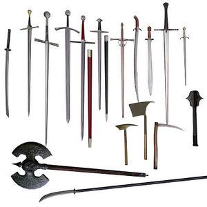 3d model sword axe battleaxe