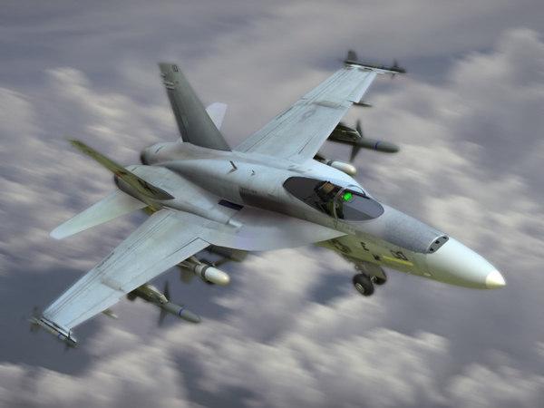 navy fa18e hornet fighter 3d model