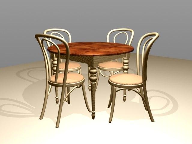 3d tablechairwoodsetdininigrestaurant model