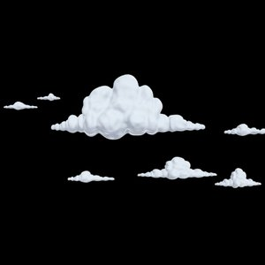 cartoony clouds 3d model