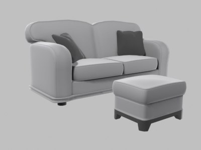 couch foot rest 3d max