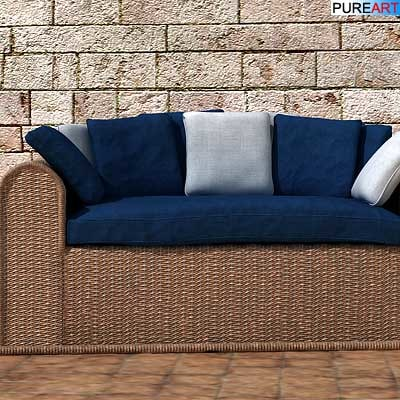 3d model of rattan sofa armchair