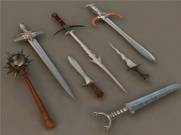 swords fantasy medieval 3d c4d