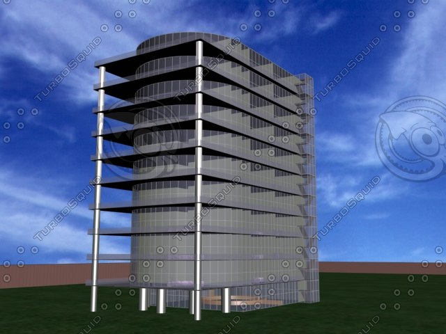 3d office block model