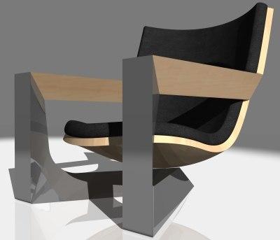 triangle chair design 3d max