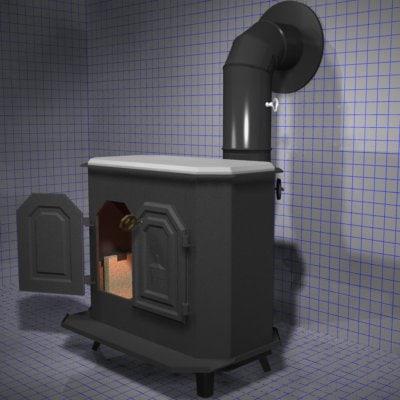 garrison woodstove stove fireplace 3d model