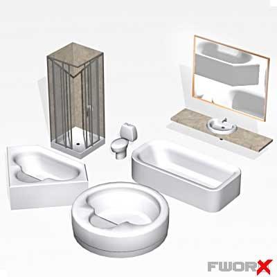 3d bathroom sink shower model