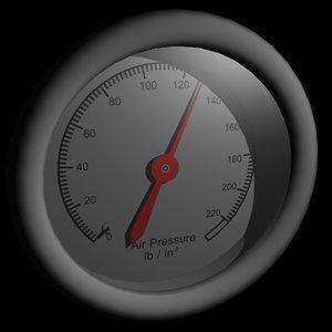 3d model air pressure gauge
