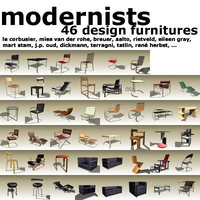 3d furnitures designed modernist
