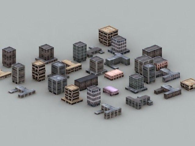 low-poly urban buildings 3d model