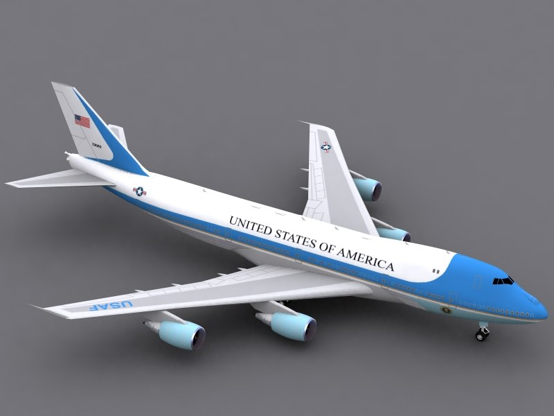 3d model b 747-200 air force