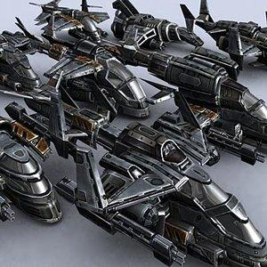 sci-fi gunships 3d 3ds
