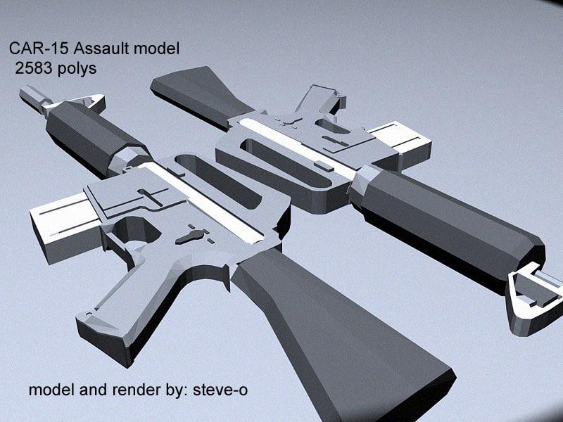 3ds max car-15 assault rifle