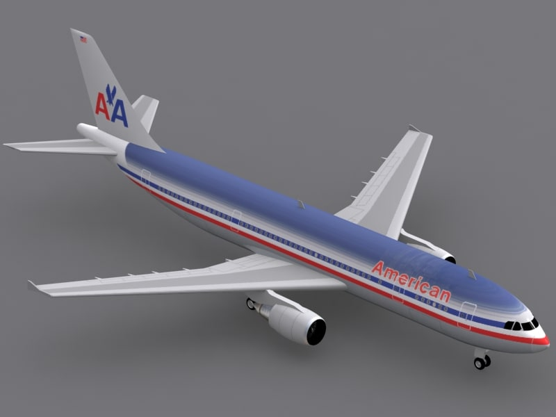 airbus a300-600 american airlines 3d model
