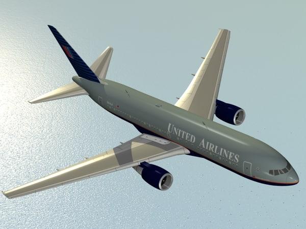 b 767-200 united airlines 3d model