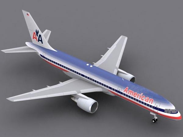 b 757-200 american airlines 3d c4d