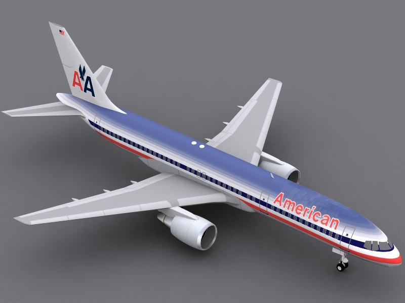 b 757-200 american airlines 3d c4d