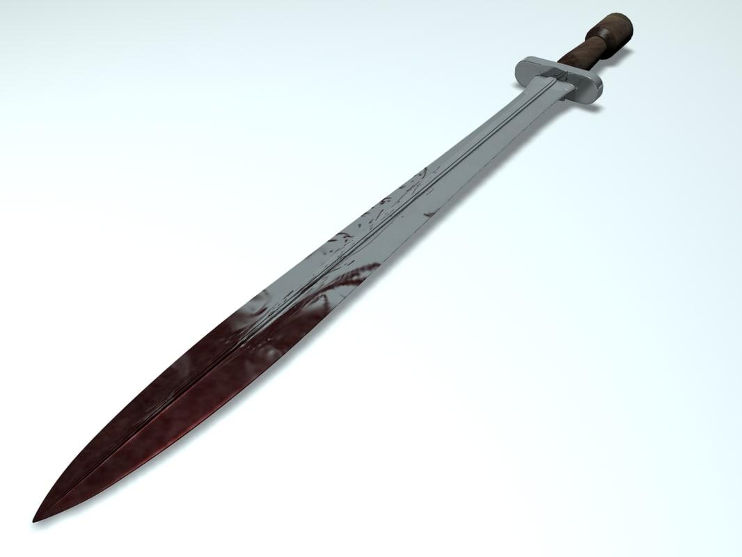 3d model greek hoplite sword
