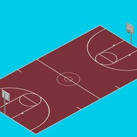 3d official basketball court