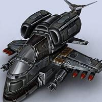 gunship fighter space 3d model