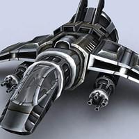 3d gunship fighter space model