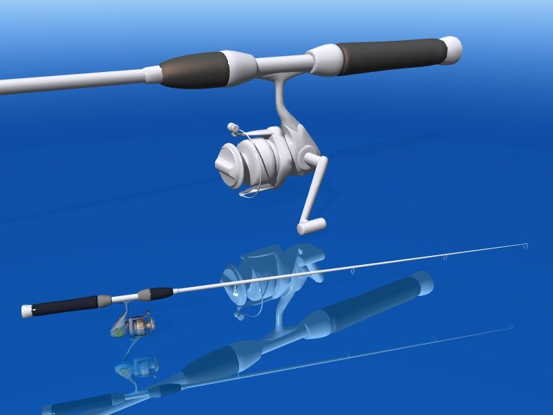fishing reel rod 3d obj