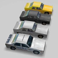 3d model cars sedan taxi police