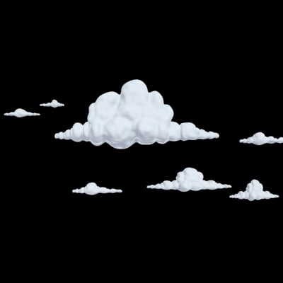 cartoony clouds 3d 3ds