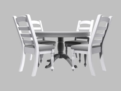 3d obj kitchen table chairs