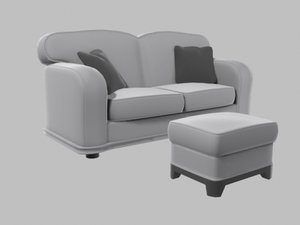 couch foot rest 3d obj