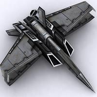 spaceship fighter plane 3d max