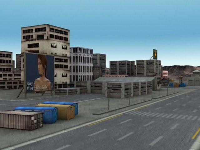low-poly urban environment road street 3d model