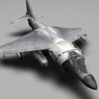 3d plane harrier jet model