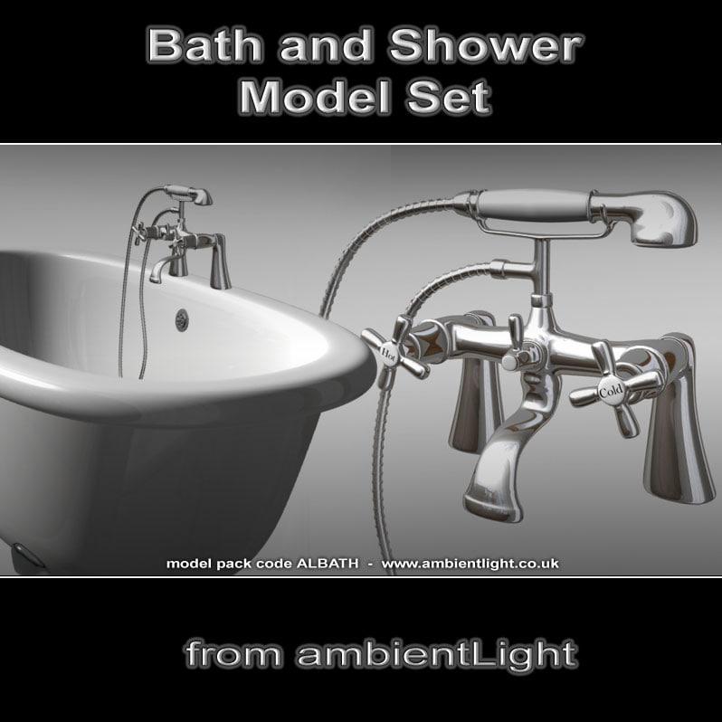 bathroom tap shower bath 3d model