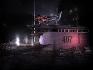 spaceship station 3d ma