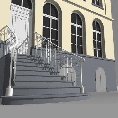 historical facade house 3d model