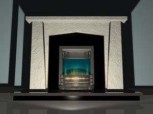 chrome blue flame surround 3d model