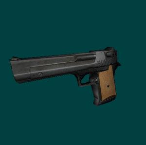 3d model of low-poly handgun