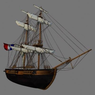 3d model chaloupe canonniere napoleon