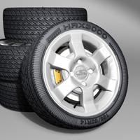 3d 6 car wheels rims