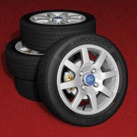 8 alloy wheels 3d lwo