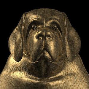 bronze head dog 3d model
