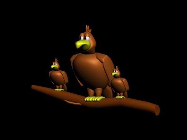 free toon bird hawk 3d model