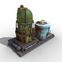 oil refinary 3d model